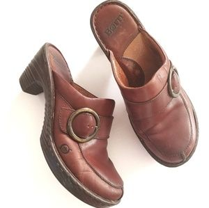 Born Montara Brown Leather Mules clogs 9